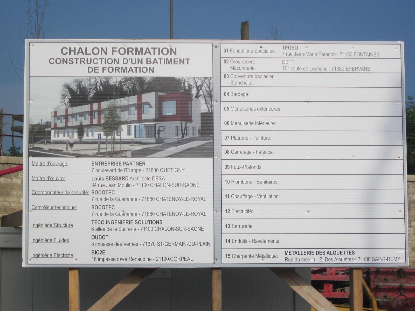Visite de chantier chalon formation lyc e des m tiers for Chantier architecte